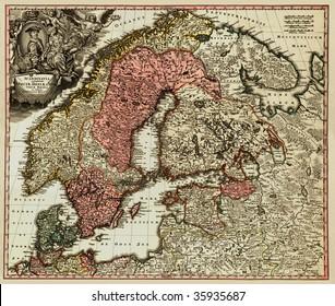 Antique map of Scandinavian (18 centuries, Latin language).