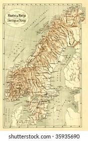 Antique map of Scandinavian (19 centuries).