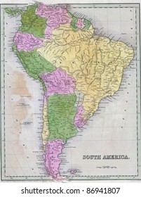 Antique map of South America  from the out of print 1841 Goodrich atlas