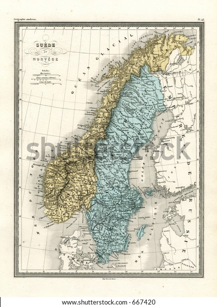 Antique Map Sweden Norway 1860 Stock Photo (Edit Now) 667420 on 1860 map of liberia, 1860 map of mexico, 1860 map of upper silesia, 1860 map of czechoslovakia,