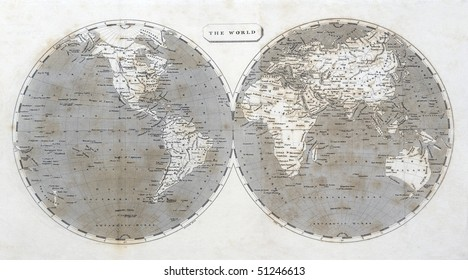 Antique map of the world, dated 1802