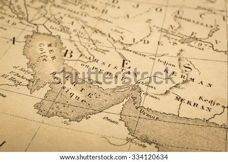 Antique Map World Persian Gulf Strait Stock Photo (Edit Now ...