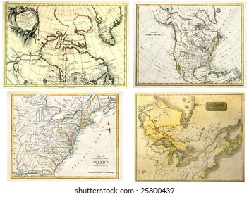Antique Maps of North America dated 1771-1808.