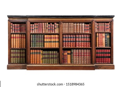 Antique marble top open bookcase with isolated on white