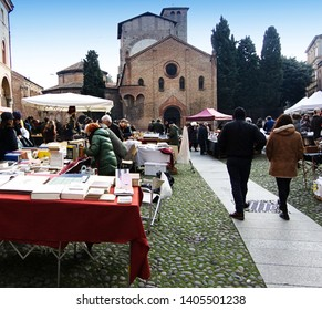 Antique market in Santo Stefano square in Bologna, Italy
