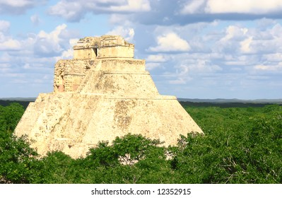Antique mayan ruins in Mexico over green forest