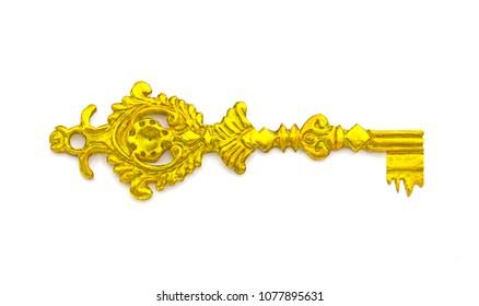 Antique medieval golden key on white background.