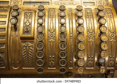 Antique metal cash register. Selective focus