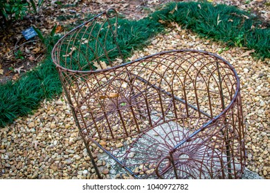 Antique metal courting bench