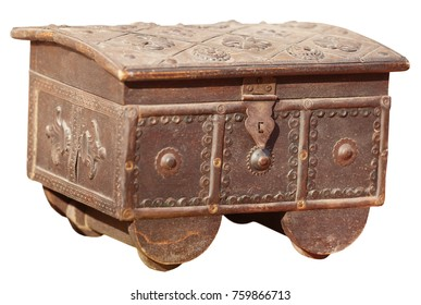 Antique, metal jewelry box with lock hasp, and intricately tooled patterns, isolated against a white background.