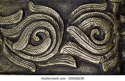antique metal relief