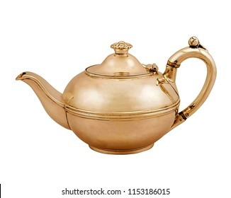 antique metal teapot isolated on white background, antique kettle, golden teapot, metal teapot