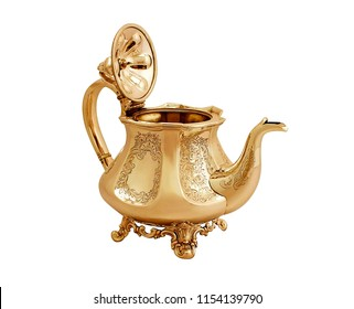 antique metal teapot on white background, luxury golden teapot, antique kettle, golden teapot, metal teapot