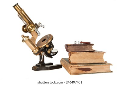 Antique microscope with closed books