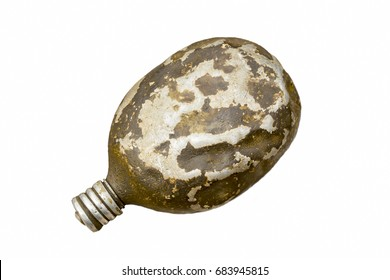 antique military flask isolated on white background