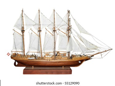 Antique Model Sailing Ship isolated with clipping path