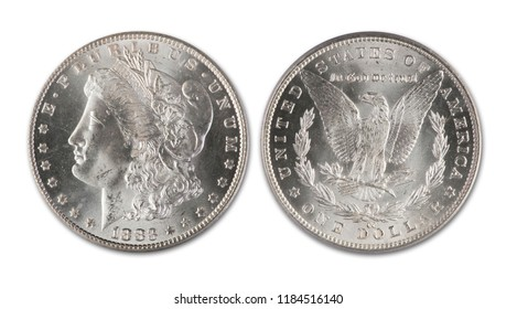 Antique Morgan silver dollar dated 1883 cc showing front and back of coin.
