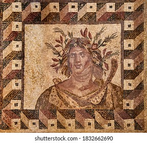 Antique mosaic depicting a bust of spring. House of Dionysus. The end of the 2nd century. Paphos Archaeological Park, Cyprus.