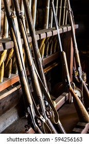 Antique muskets in the armory at Fort Ross, California
