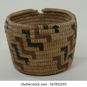 Antique Nez Perce American Indian basket tan with red and black bird like design from Idaho