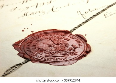 antique notarial wax seal on old document