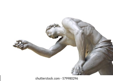 antique nude plaster sculpture of a naked ancient man pointing his hand and finger forward isolated on white background