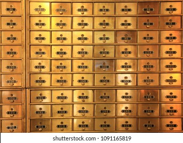 Antique Numbered Brass  Postal Boxes or Safe Deposit Boxes