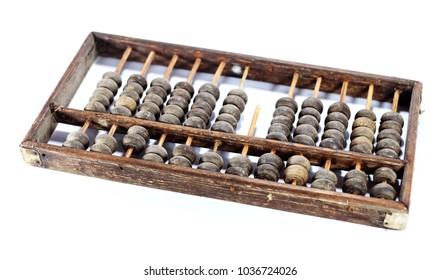 Antique old abacus isolated on white background.Antique old Defective