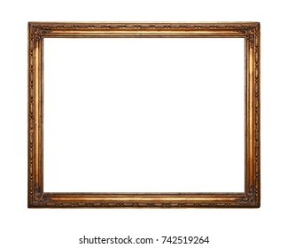 Antique old baroque ornate wooden classic golden painted horizontal rectangular frame for picture, photo or mirror, isolated on white background, close up
