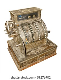 Antique old cash register isolated on white background