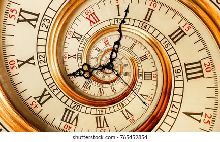 Antique old clock abstract fractal spiral. Watch clock mechanism unusual abstract texture fractal pattern background. Golden old fashion clock dial with roman and arabic numerals. Clock hands pointers