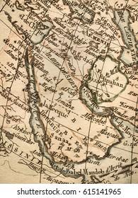 Antique old map Arabian Peninsula