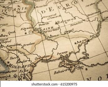 Antique old map Crimea Peninsula