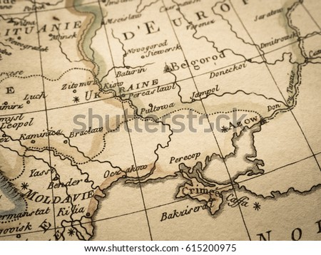 Antique Old Map Crimea Peninsula Stock Photo (Edit Now) 615200975 ...