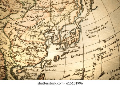 Antique old map East Asia