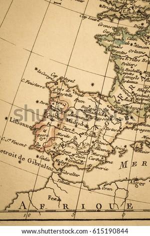 Iberia World Map.Antique Old Map Iberia Peninsula Stock Photo Edit Now 615190844