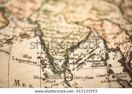 Antique Old Map India Stock Photo Edit Now 615131993 Shutterstock