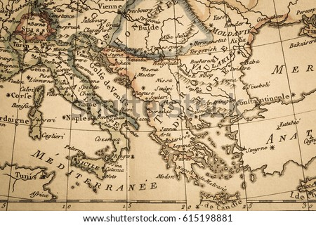 Antique Old Map Italy Greece Stock Photo Edit Now 615198881