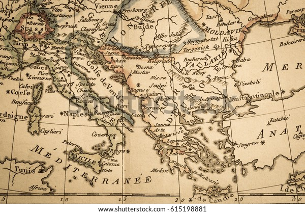 Antique Old Map Italy Greece Stockfoto (Jetzt bearbeiten ...
