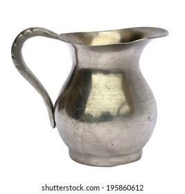 Antique old pewter pitcher isolated on white background
