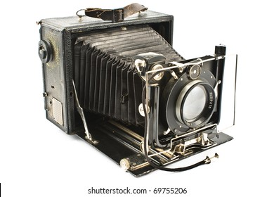 Antique Old photo Camera isolated on white