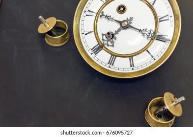 antique old pocket watch on black background, close up, above