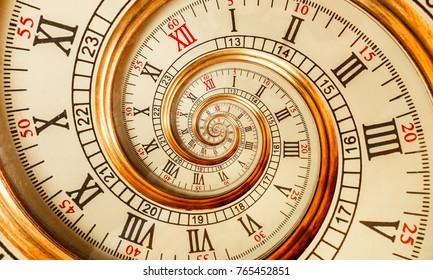 Antieke oude spiraal klok abstract fractal. Horloge klok mechanisme ongebruikelijke abstracte textuur fractal patroon achtergrond. Gouden oude mode klok met Romeinse Arabische cijfers Abstract tijd spiraal effect