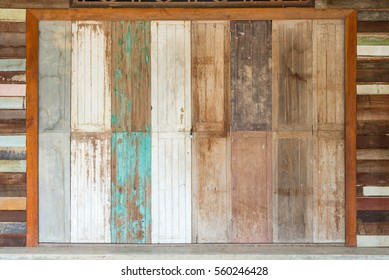 The antique old wooden and door vintage style in Thailand.