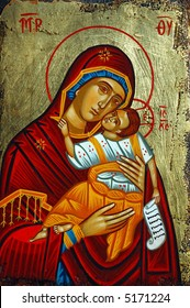 Antique orthodox paint called icon, Rhodes, greece.
