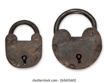 Antique padlocks isolated on white background