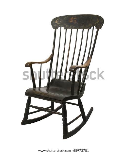 antique painted rocking chair on a white background