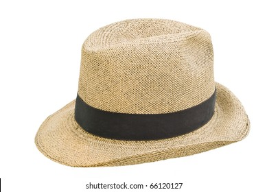 Antique panamanianhand made straw hat, isolated over white background, also known as Panama's jipijapa