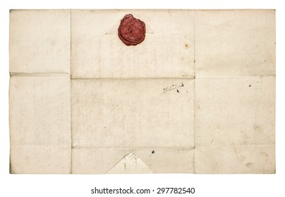 Antique paper sheet with red wax seal isolated on white background. Grunge texture