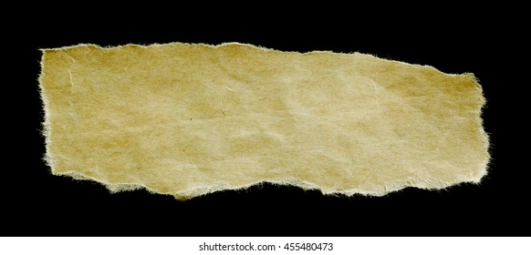 antique paper with worn edge isolated on black background.